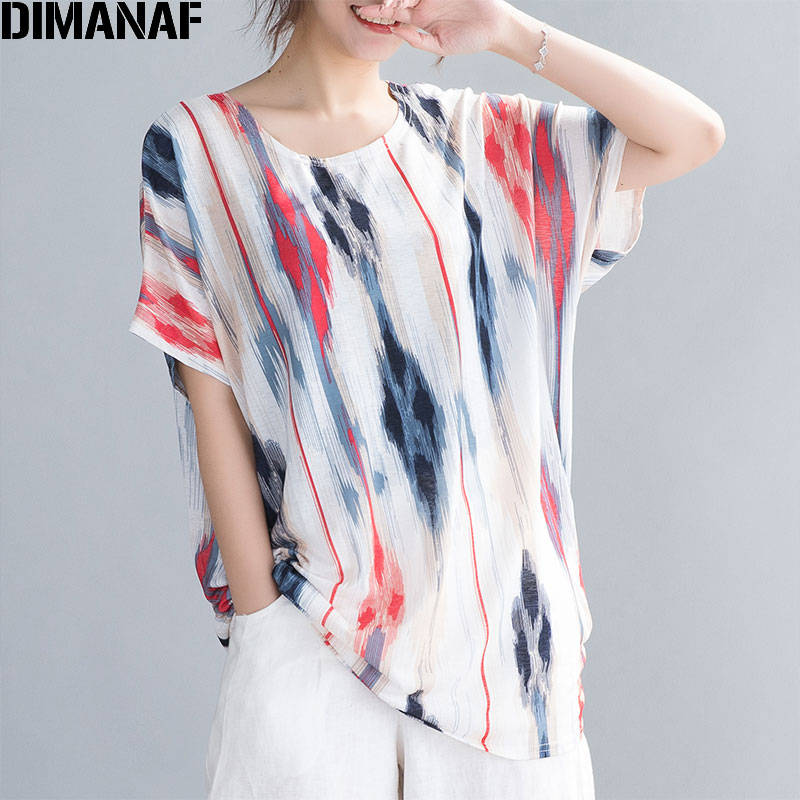 DIMANAF Plus Size Women T-Shirts Summer Beach Lady Tops Tee Tunic Shirts Casual Loose Oversize Clothing Batwing Sleeve Thin 2020