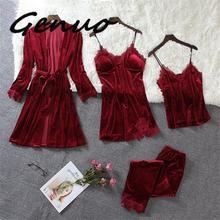Genuo 4pcs Women Gold Velvet Warm Winter Pajamas Sets Female Sexy Lace Robe Sleepwear Sleeveless Nightwear Homewear