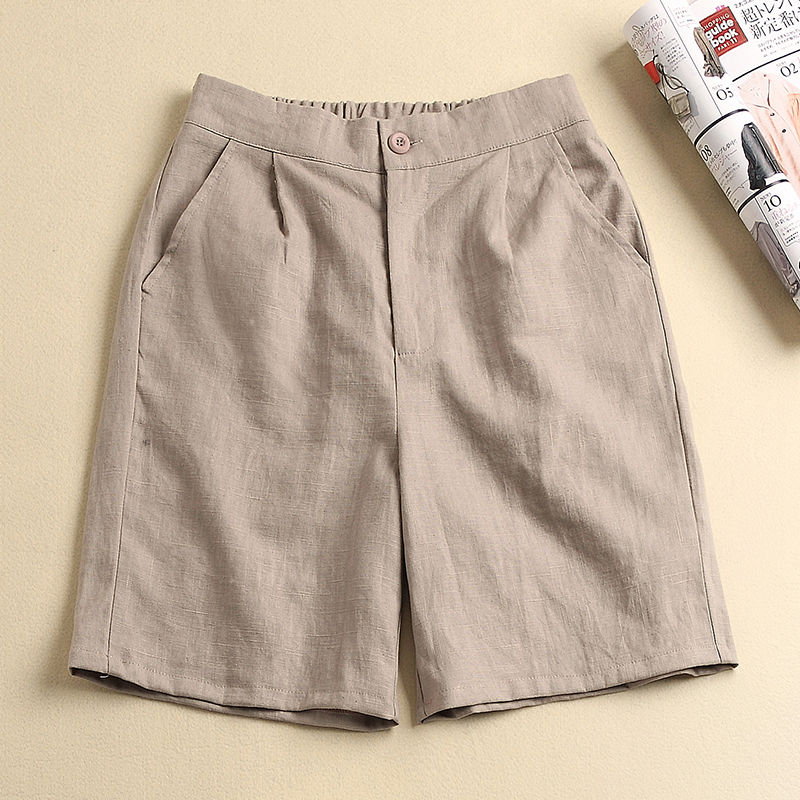 Women Summer Casual Wide Leg Pants New 2020 Fashion Korean Style Elastic Waist Cotton Linen Female Knee Length Pants P340