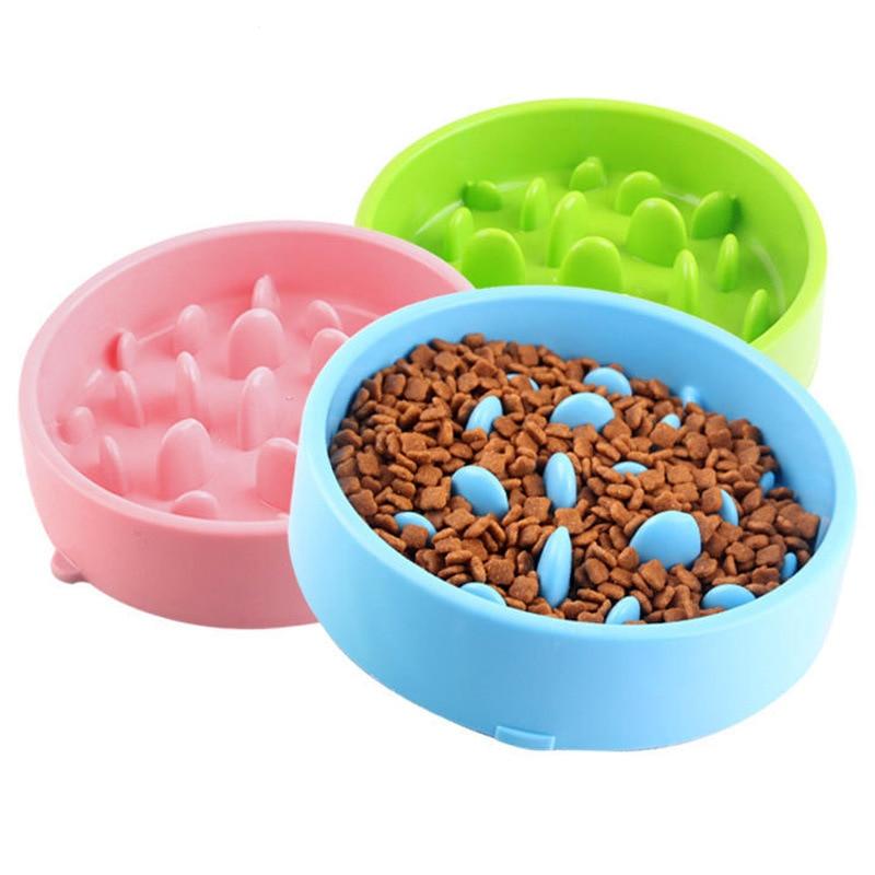 Food Dog Bowl Plastic Anti Choking Puppy Cat Eating Dish Anti-Gulping Food Plate Anti Skid Dishes Tray Home Pet Accessories