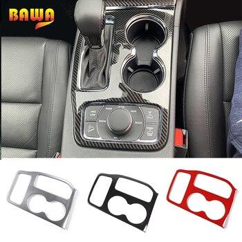 BAWA Carbon Fiber Grain Car Gear Shift Shifter Panel Decoration Cover Accessories for Jeep Grand Cherokee 2016 2017 2018