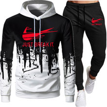 2-piece sportswear men's hooded sweatshirt + pants pullover hooded sportswear suit Ropa Humber casual men's clothes size S-3XL
