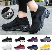 Chaussures de Tennis à coussin d'air pour femmes, 5CM de hauteur, baskets de sport respirantes, chaussettes de marche, semelles épaisses