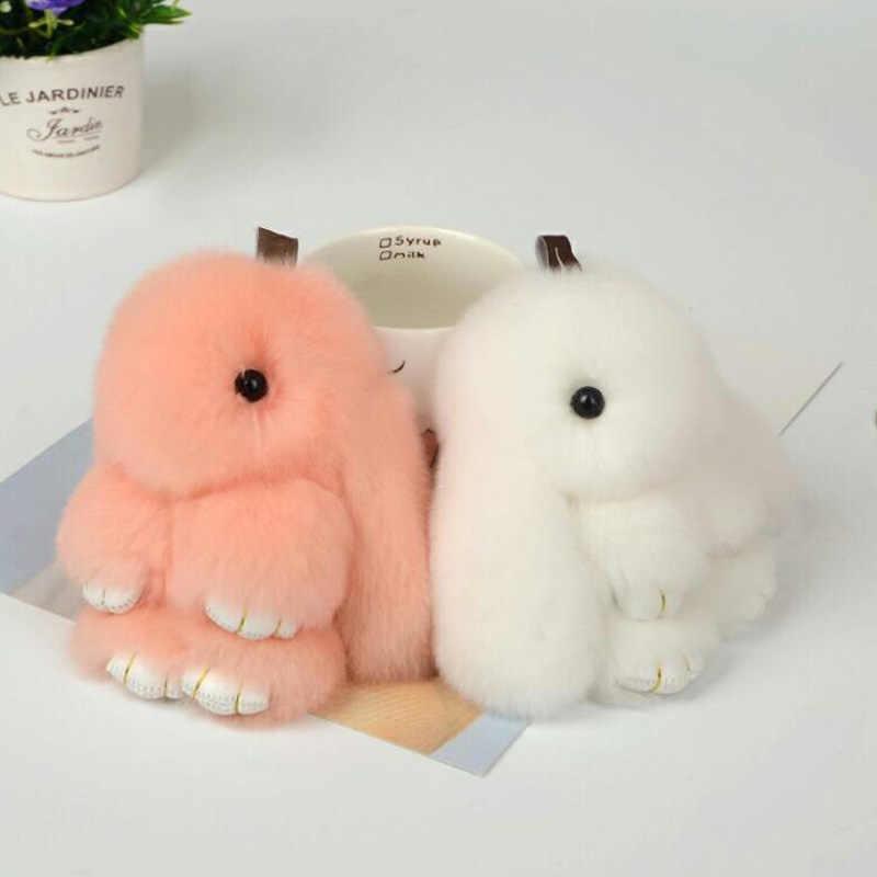 SMJEL ビジューかわいいふわふわバニーキーホルダー本物のウサギの毛皮女性のためのバッグおもちゃ人形ポンポンキーリングクリスマスギフト