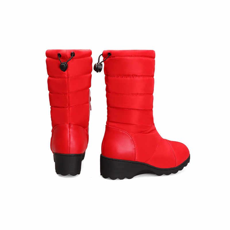 FEDONAS kadın Pu aşağı orta buzağı çizmeler kış sıcak kadın büyük boy takozlar fermuar kar botları rahat ofis ayakkabı kadın uzun çizmeler