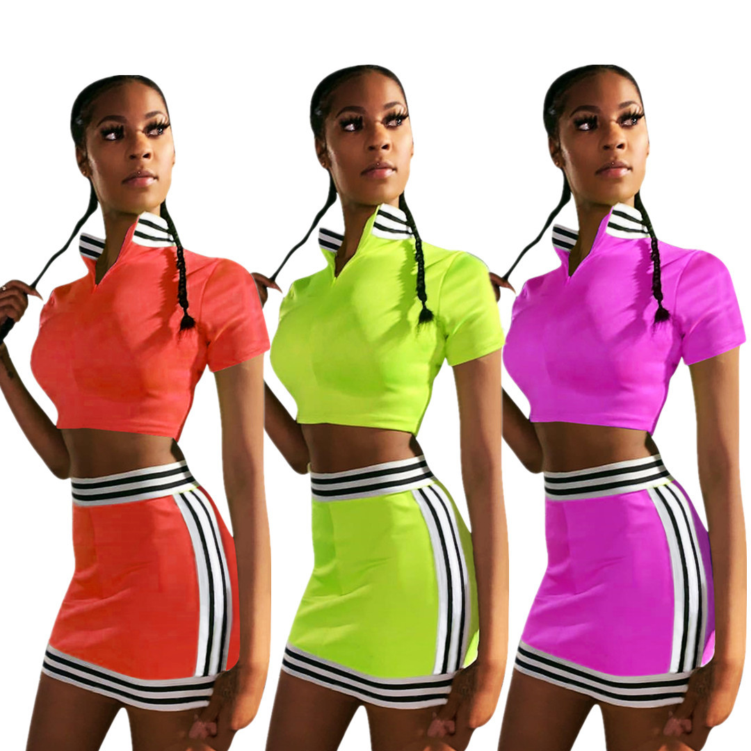 HAOYUAN Neon Green Two Piece Set Women Festival Clothing Crop Top And Skirt Suit Sexy 2 Piece Summer Club Outfits Matching Sets