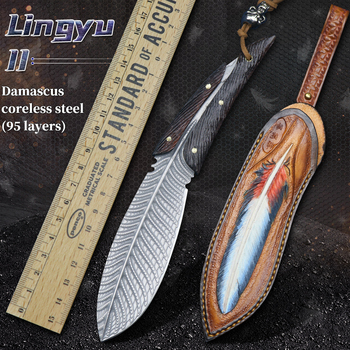 Damascus steel VG10 outdoor knife camping high hardness army survival handmade hunting straight