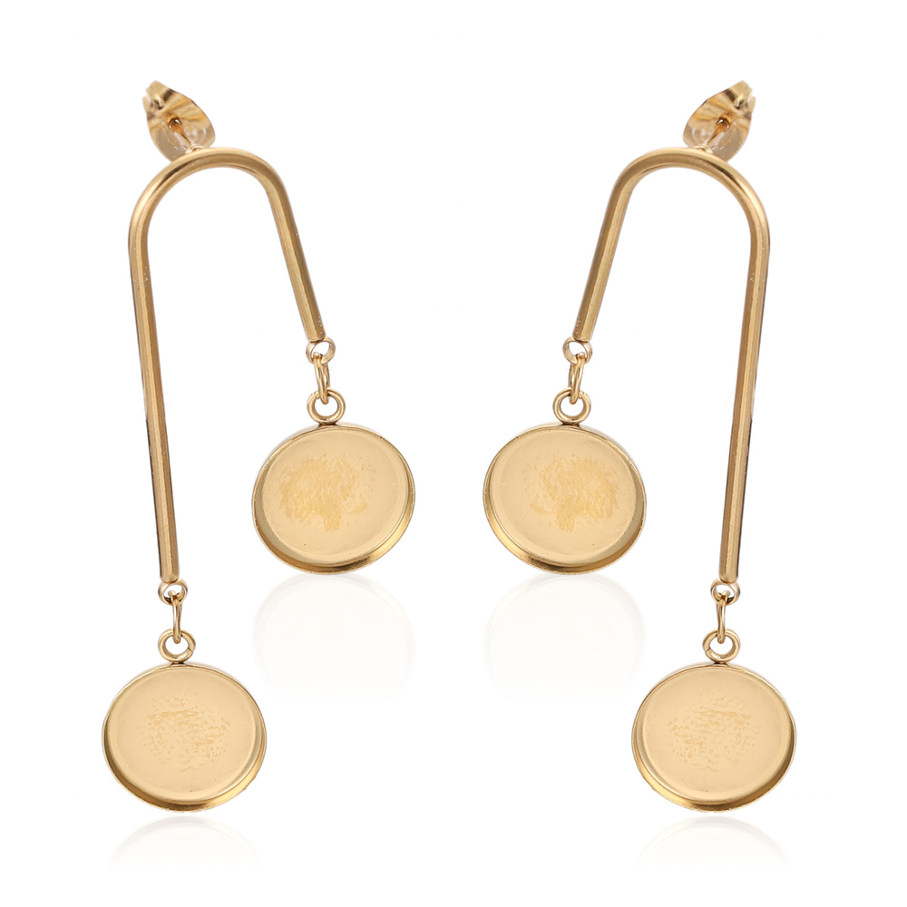 10pcs/lot Gold Stainless Steel Dangle Earring Base Blanks Fit 12mm Cabochon Bezel Settings Diy Post Stud Earrings Findings