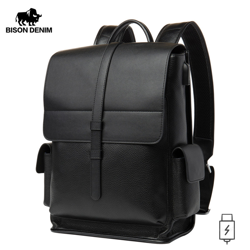 BISON DENIM Genuine Leather 14 Inches Backpack Men's Travel Bag Waterproof Daypack USB Charging School Backpack N2645