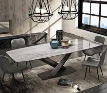 Rama Dymasty-Juego de comedor nórdico, mesa de mármol para cena, mesa à manger en madera, para el hogar
