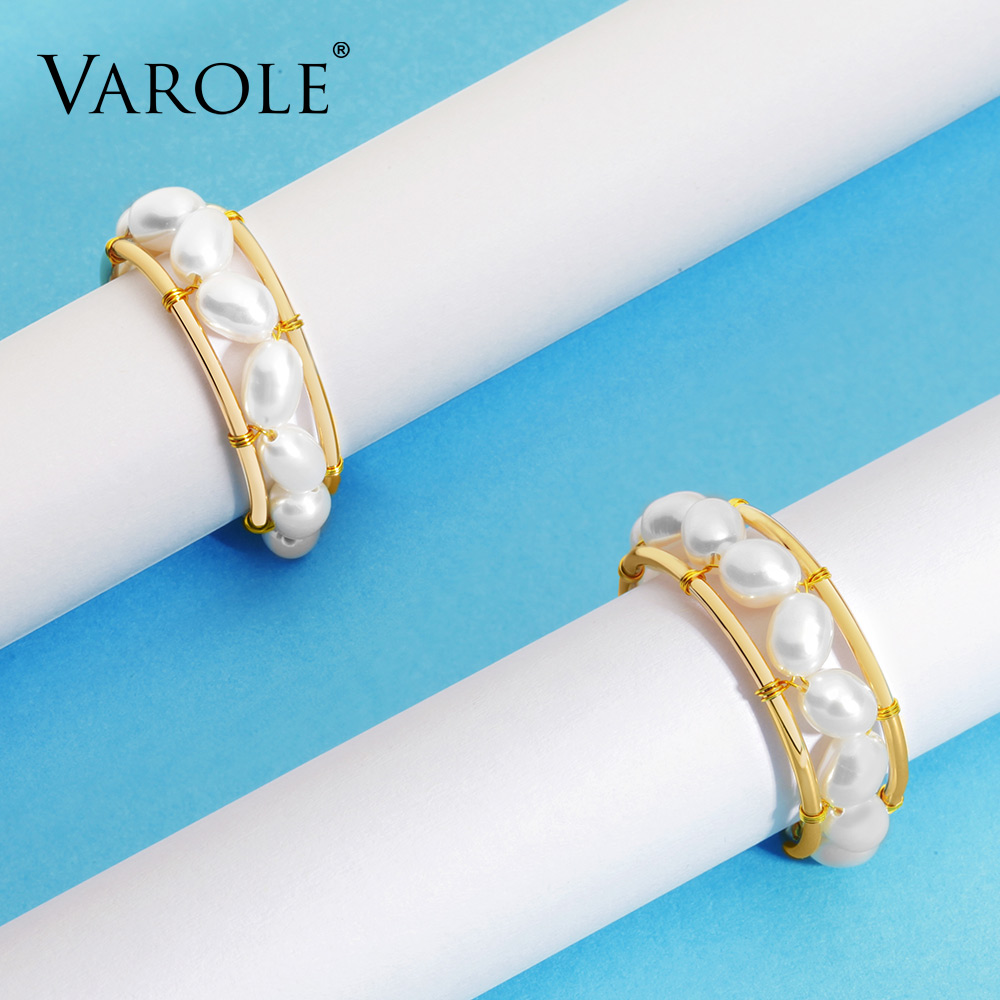Image 4 - VAROLE Natural Pearls Ring Handmade Gold Color Rings For Women Accessories Finger Fashion Jewelry GiftsRings   -