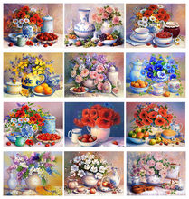 Yikexin 5D Diy Diamant Schilderij Fruit Bloemen Fuii Circulaire Diamant Kunst Borduren Mozaïek Home Decorat(China)