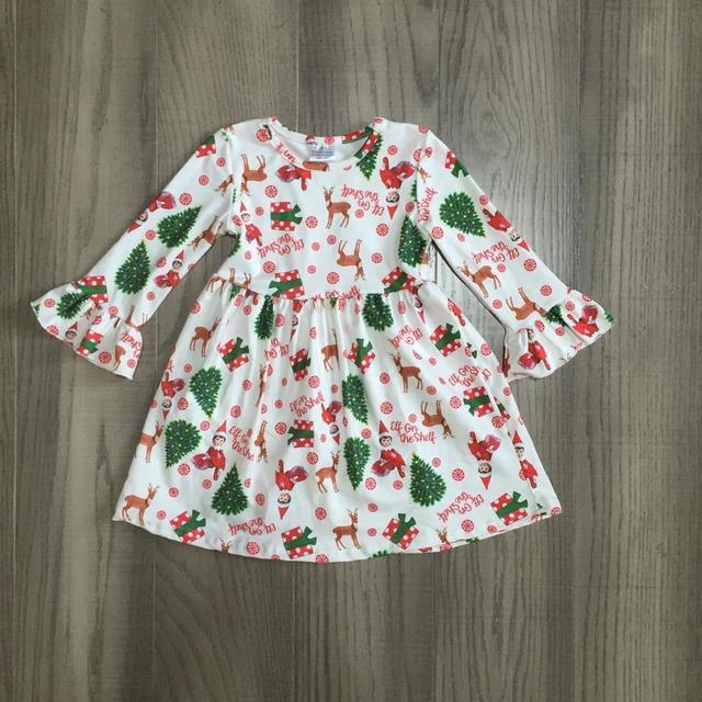 Exclusive Girlymax Christmas Tree Girls Children Clothes Baby Deer Winter Long Sleeve Ruffle Gingerbrea Milk Silk Dress Boutique 4