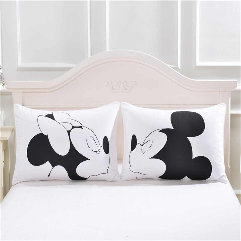 Disney Mickey Minnie Mouse 3D Sarung Bantal Hitam Putih Merah 2 Pcs/set Beberapa Hadiah Kekasih Mr Mrs Bantal Cover Shams 50X90 Cm