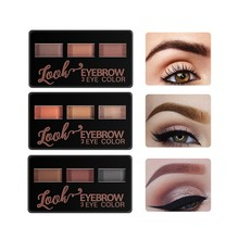 Трехцветные стойкие натуральные тени для век Maquiagem Professional Completa для бровей, легко носить, Модный женский макияж W1