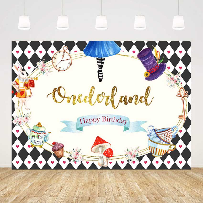 Newborn in wonderland party backdrop onederland happy birthday background for photo shoot lattice rabbit tea party Photocall