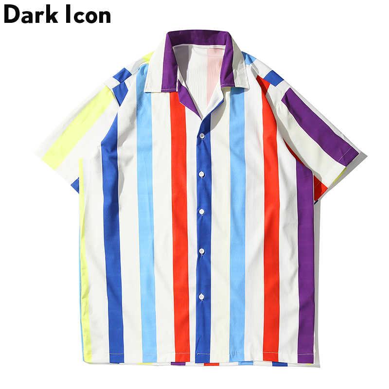 ダークアイコンカラフルな縦縞シャツ男性半袖ビーチアロハシャツヒップホップストリート男性のシャツ