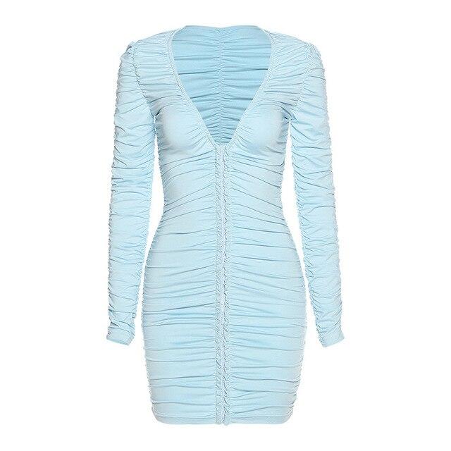 Women StackedBodycon Street Mini Dress Chic V-Neck Office Lady Dress Female Fall Low-Cut Pleated Casual Clubwear 6