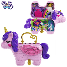 Authentic Polly Pocket Toys Unicorn Doll Mini Polly Accessories Girls Party House Dolls Toys for Children Birthday Kids Playset