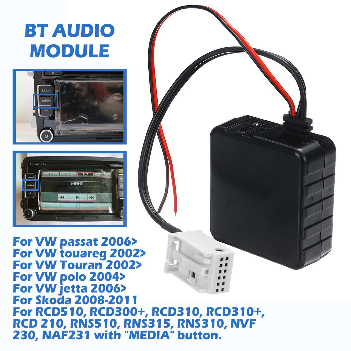 Wireless 5-12V Car Bluetooth 5.0 Module AUX Cable Adapte For VW RCD510 300+ 310 310+ CD Host Unit