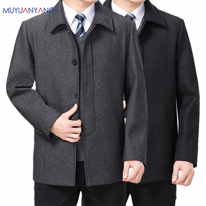 Image 1 - Mu Yuan Yang Wool Coat For Men Casual Woolen Coats Male Clothing Mens Jackets Single Breasted Overcoat 4XL Plus Size