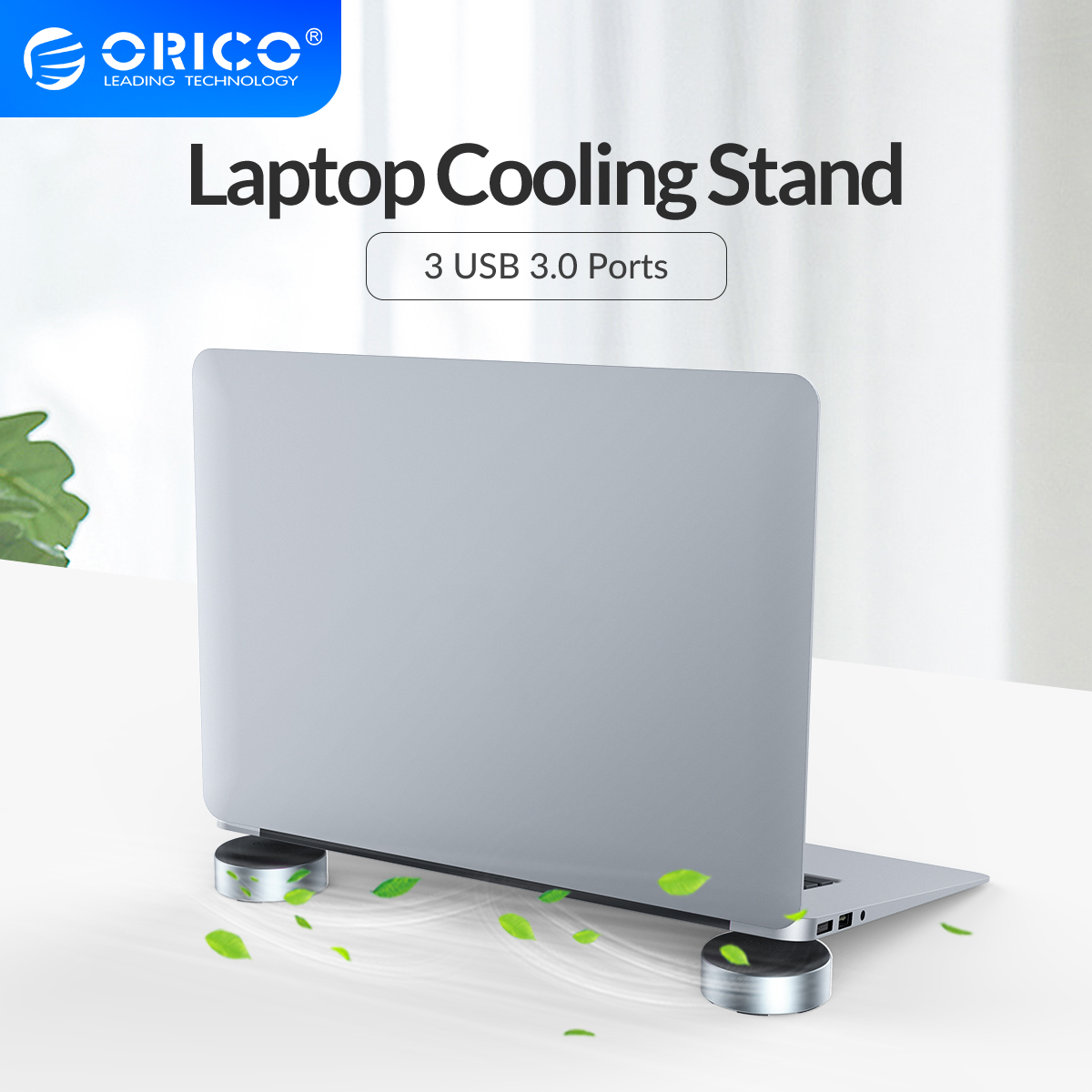 ORICO Laptop Stand With USB3.0 HUB Aluminum Portable Cooling Pad Heat Dissipation Skidproof Pad Cooler Stand 2 PCS For MacBook