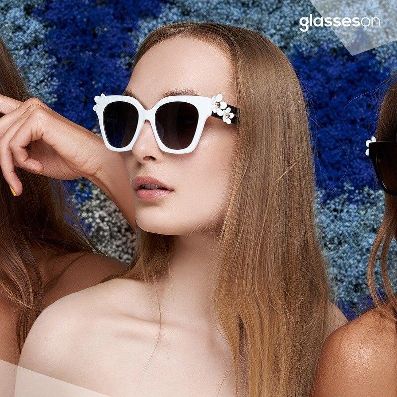 2020 New Square Sunglasses Women Brand Designer Retro Fashion Cat Eye Sun Glasses Vintage Flower Shades Lunette De Soleil Femme