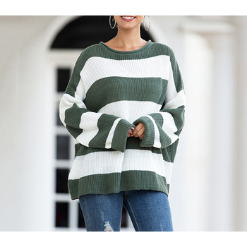 Knitted Sweater women Pullovers sweaters ladies spring Women sweater oversized striped color-block sweater loose sweater ladies o ring zip up color block sweater