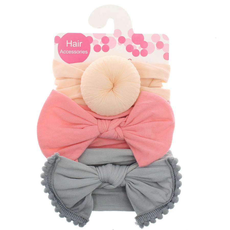 3Pcs Girls Kids Toddler Bow Knot Hair Band Headband Stretch Turban Headwrap Set