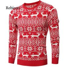 Winter Christmas Sweater Men 2019 Casual Knitted Pullover Deer Printed Plus Size Long Sleeve Slim Thick