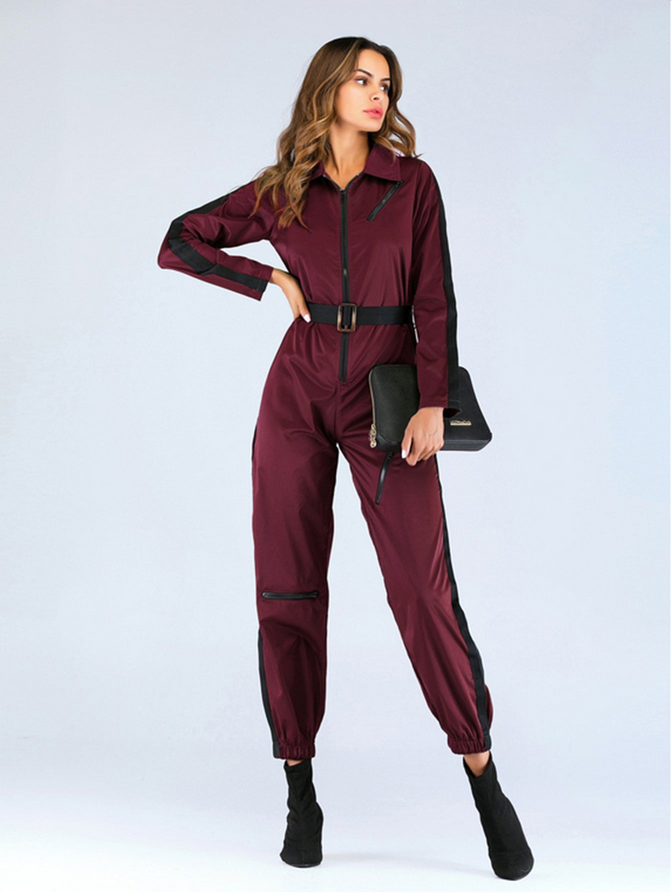 Autumn Patchwork Zipper Jumpsuit Casual Long Sleeve Turn-down Callor Overalls For Women With Belt Pencil Pants Women Jumpsuit