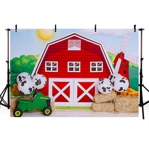 Image 3 - Mehofond Photography Background Farm Red Barn Rustic Animals Hay Baby Birthday Party Decor Portrait Backdrop Photo Studio Props