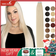 Skin-Weft-Adhesive Human-Hair-Extensions Mrshair-Tape Blonde Tape-In Black Straight Invisible