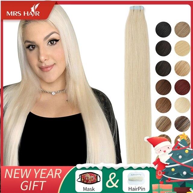 MRSHAIR Band in Extensions Haut Schuss Klebeband in Menschliches Haar Extensions Invisible Nicht remy Gerade Blonde Braun Schwarz 20pc