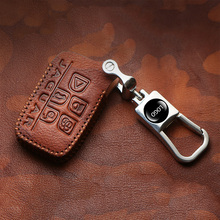 Top layer leather Car Key Cover Case For Jaguar XE XJ XJL XF C-X16 V12 Guitar F X Typ Keycase Remote