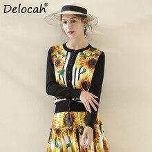 Delocah New Fashion Autumn Knitting Shirt Womens Sunflower Print Single Breasted Elegant Vintage Ladies Wool Cardigans Blouse
