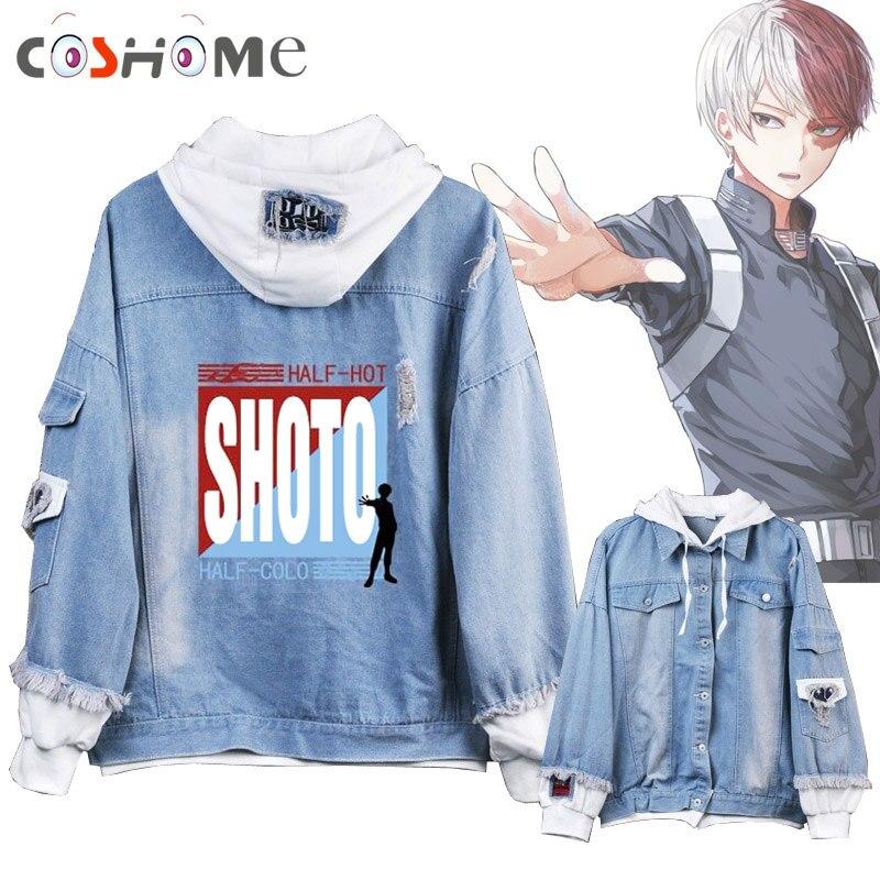 Coshome boku não meu herói academia midoriya shoto todoroki cosplay hoodies trajes das mulheres dos homens denim jaqueta