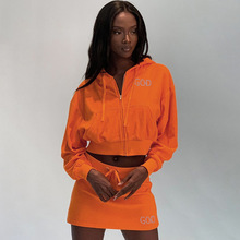 Fashion Bright Orange Two Pieces Skirt Set Women Long Sleeve Cropped Hoodie and Skirts Matching Set Drawstring Two Piece Dress black and white colour matching drawstring hooded hoodie