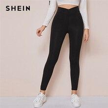 SHEIN negro cintura ancha sólido Casual Leggings Mujer Bottoms 2020 primavera ropa activa señoras otoño pantalones cortos elásticos
