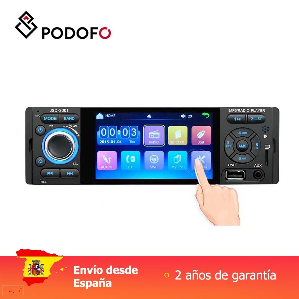 Podofo 1 din autoradio 4 ''lecteur vidéo de voiture MP5 lien miroir capacitif écran tactile affichage numérique avec caméra de vue arrière