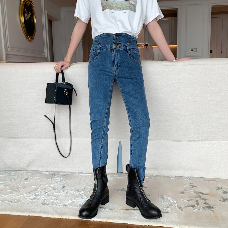 Men Vintage High Waist Button Slim Fit Blue Black Jeans Male Women Streetwear Fashion Skinny Denim Pencil Pants