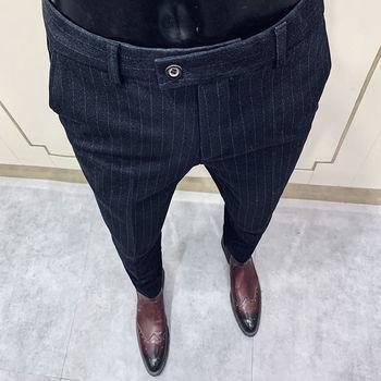 Wełniane spodnie dorywczo Slim Fit spodnie biurowe jesień czarne spodnie w stylu koreańskim spodnie w paski spodnie męskie spodnie społeczne męskie formalne spodnie tanie i dobre opinie NSTOPOS CN (pochodzenie) L4926 COTTON Poliester Mieszkanie Na co dzień Zipper fly pantalones hombre pantalones hombre 2020