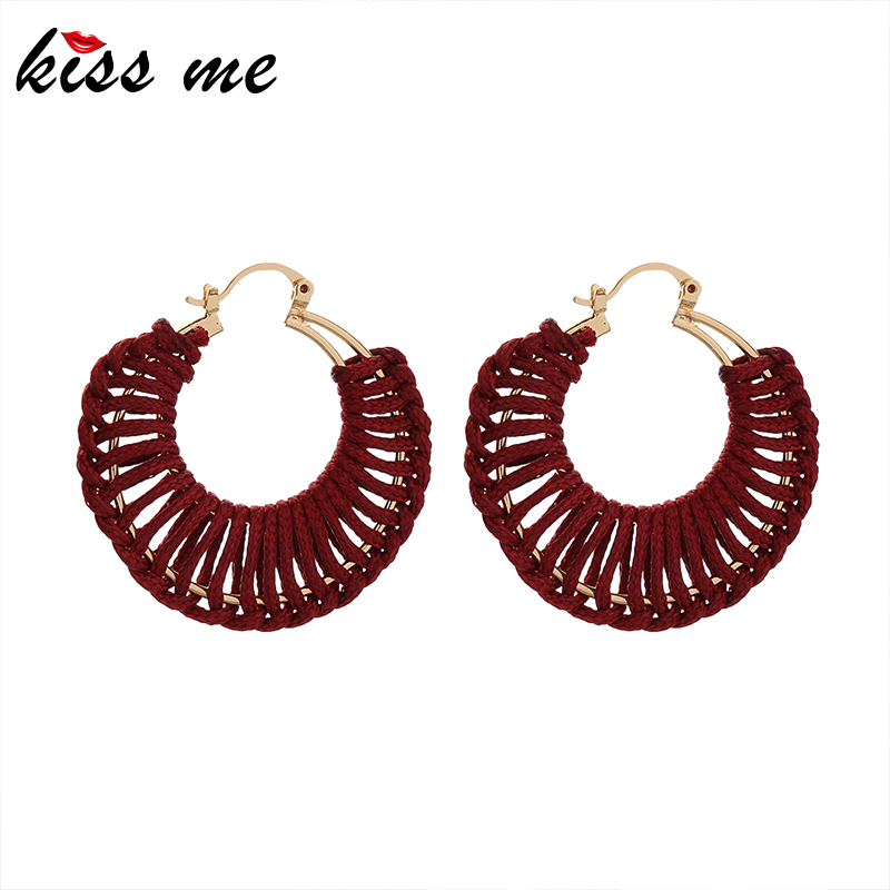 Kissme 2020 New Handmade Drop Earrings For Women Gifts Black Blue Red Line Knitting Round Earrings Fashion Jewelry Accessories