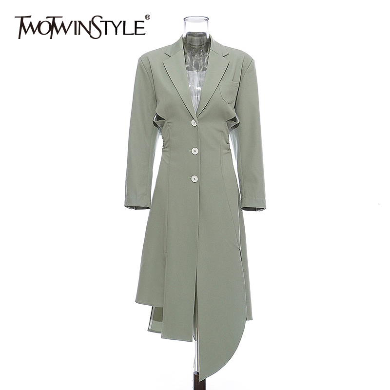TWOTWINSTYLE Asymmetrical Women's Windbreaker Lapel Collar Long Sleeve High Waist Trench Coats Female 2020 Autumn Fashion New