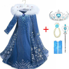 Kids Costume Clothing Elsa-Dress Snow-Queen-Print Birthday Cosplay Girl Girls Party Anna