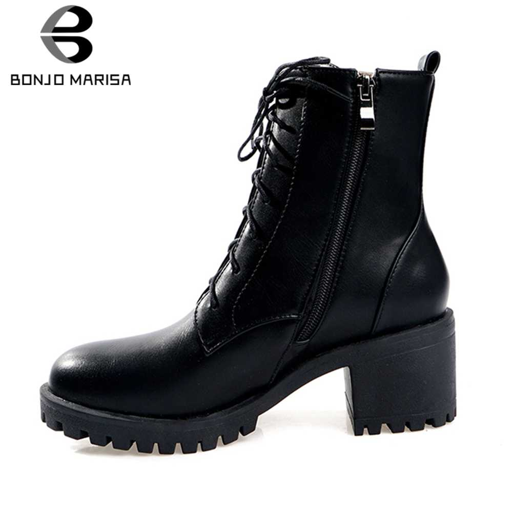 BONJOMARISA 34-43 กระชับ lace-up สุภาพสตรี Elegant ข้อเท้ารองเท้าผู้หญิง 2019 ฤดูใบไม้ร่วงรองเท้าส้นสูงรองเท้าผู้หญิง