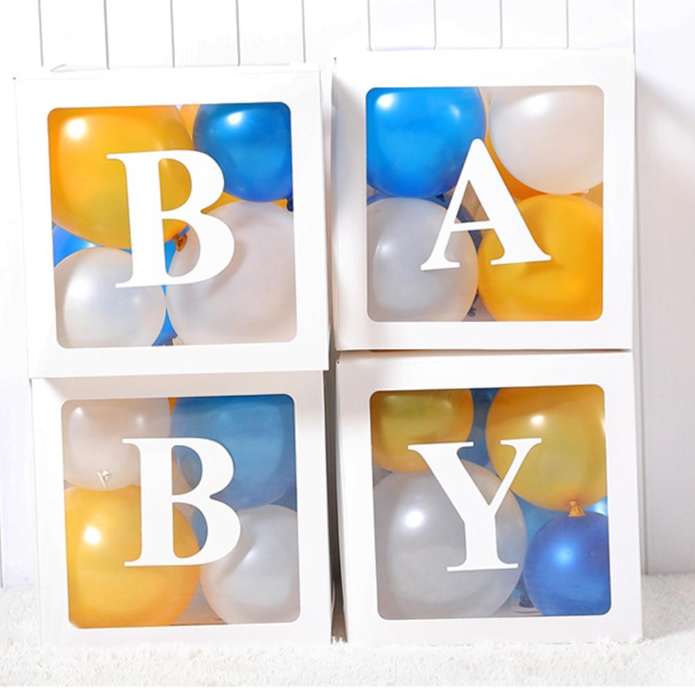 Купить с кэшбэком 4Pcs/Set Baby Shower Box 1st Birthday Party Decorations BABY LOVE Transparent Balloon Box Babyshower Wedding Party Supplies
