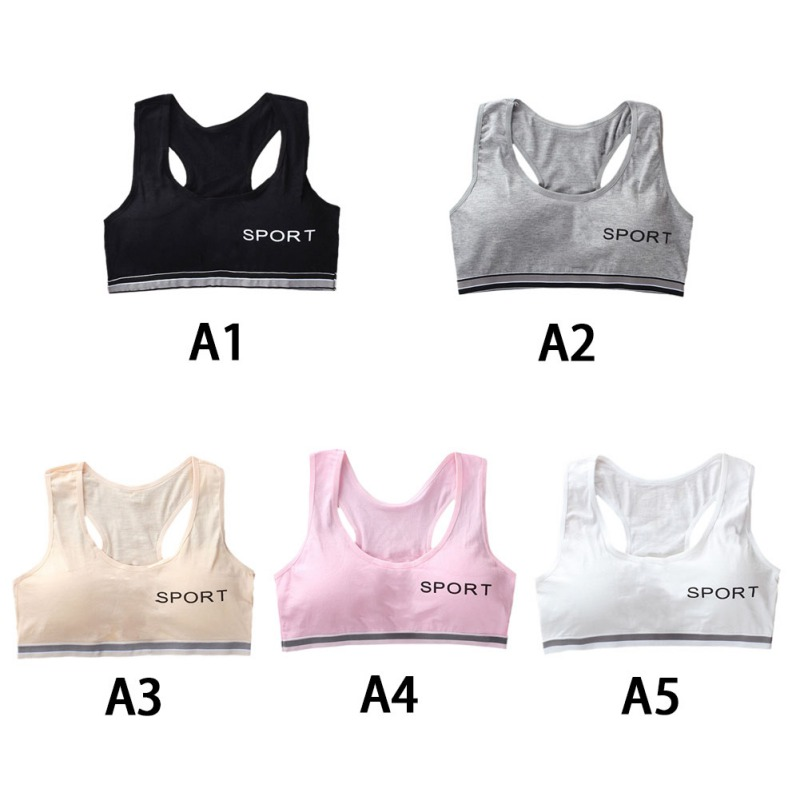 Teenagers Girls Sports Bra Puberty Gym Underwear Wireless Teenager Girls Sports Bra with Chest Pad Cotton Young Girls Training B