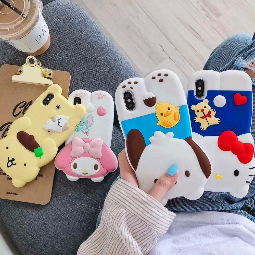 For iPhone 11 Pro XR X XS Max 7 8 Plus X 6 6s Plus 3D Soft Silicone Cartoon Case Cats kitty Cute Gifts Animal Phone Cover Funda  - buy with discount