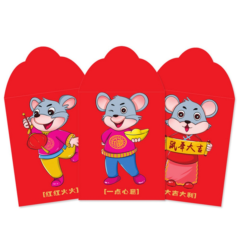 6Pcs Chinese New Year Red Money Envelope Year Of The Rat Packet Bag Spring